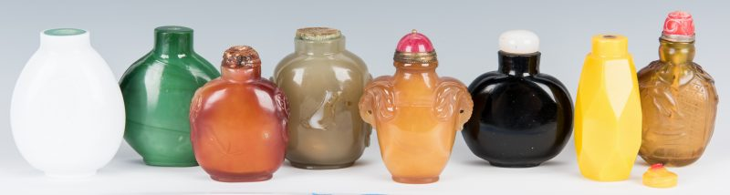 Lot 212: 8 Chinese Glass Snuff Bottles