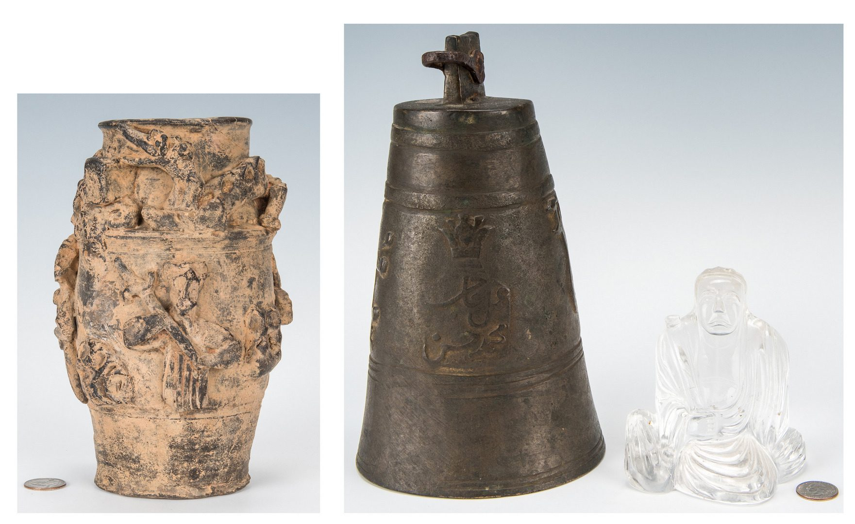 Lot 214: Asian Bronze Bell, Rock Crystal Buddha & Chinese C