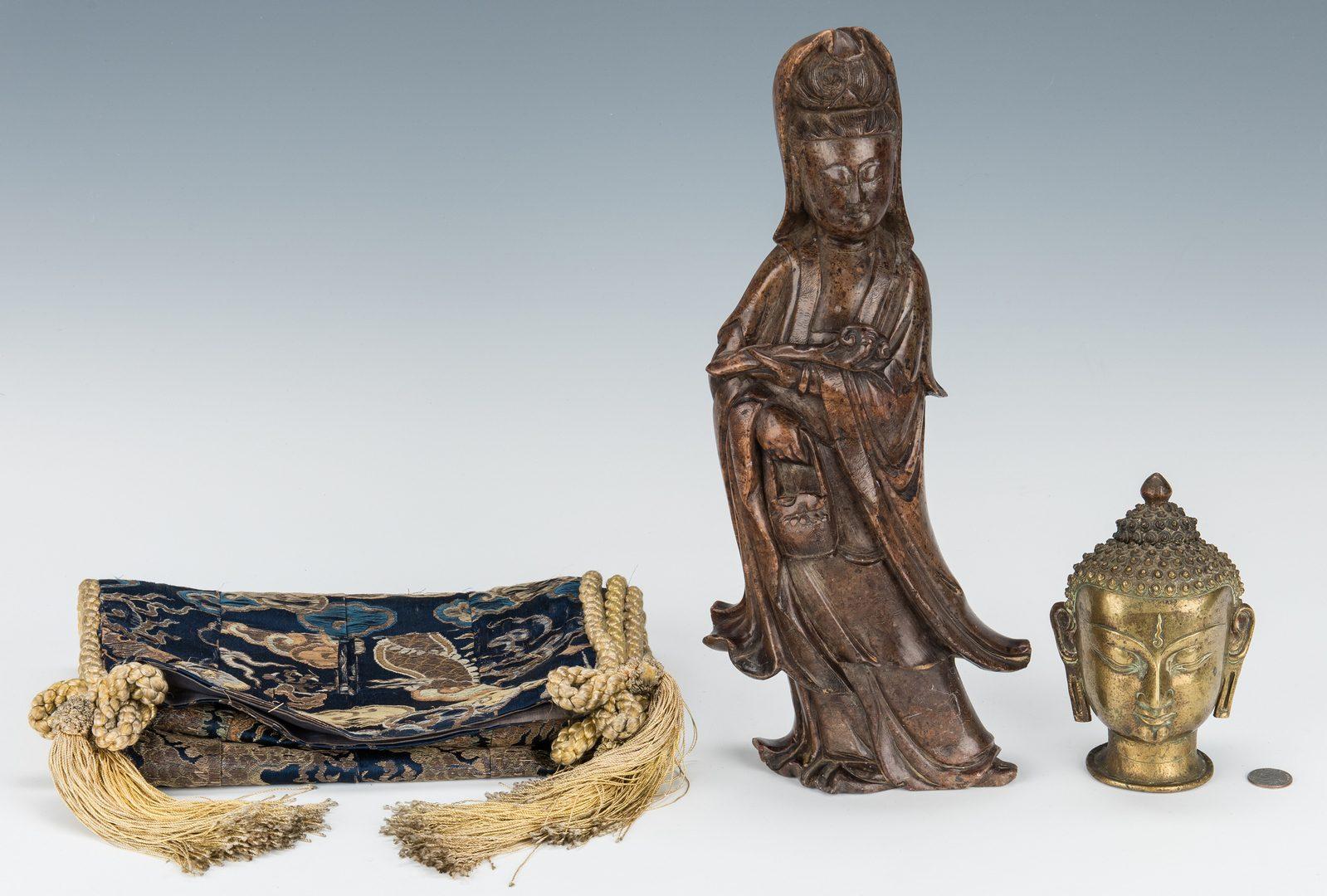 Lot 215: 4 Asian Decorative Items, incl. Sculptures