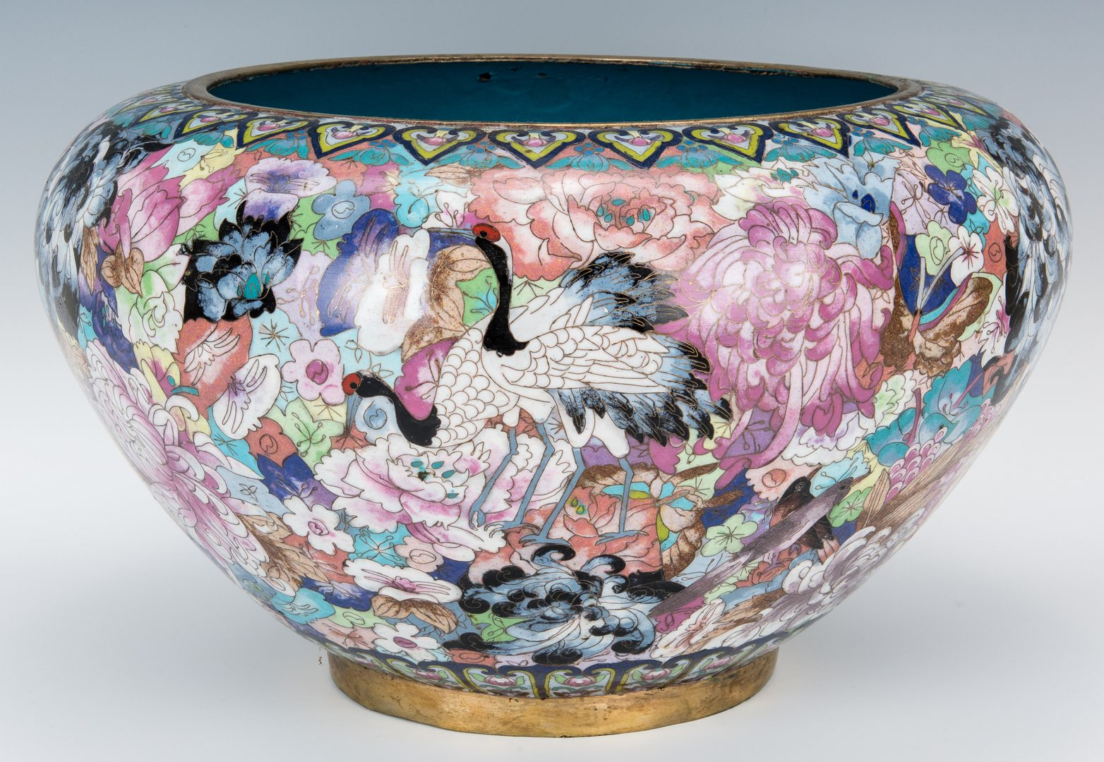 Lot 218: Large Asian Cloisonne Bowl or Planter