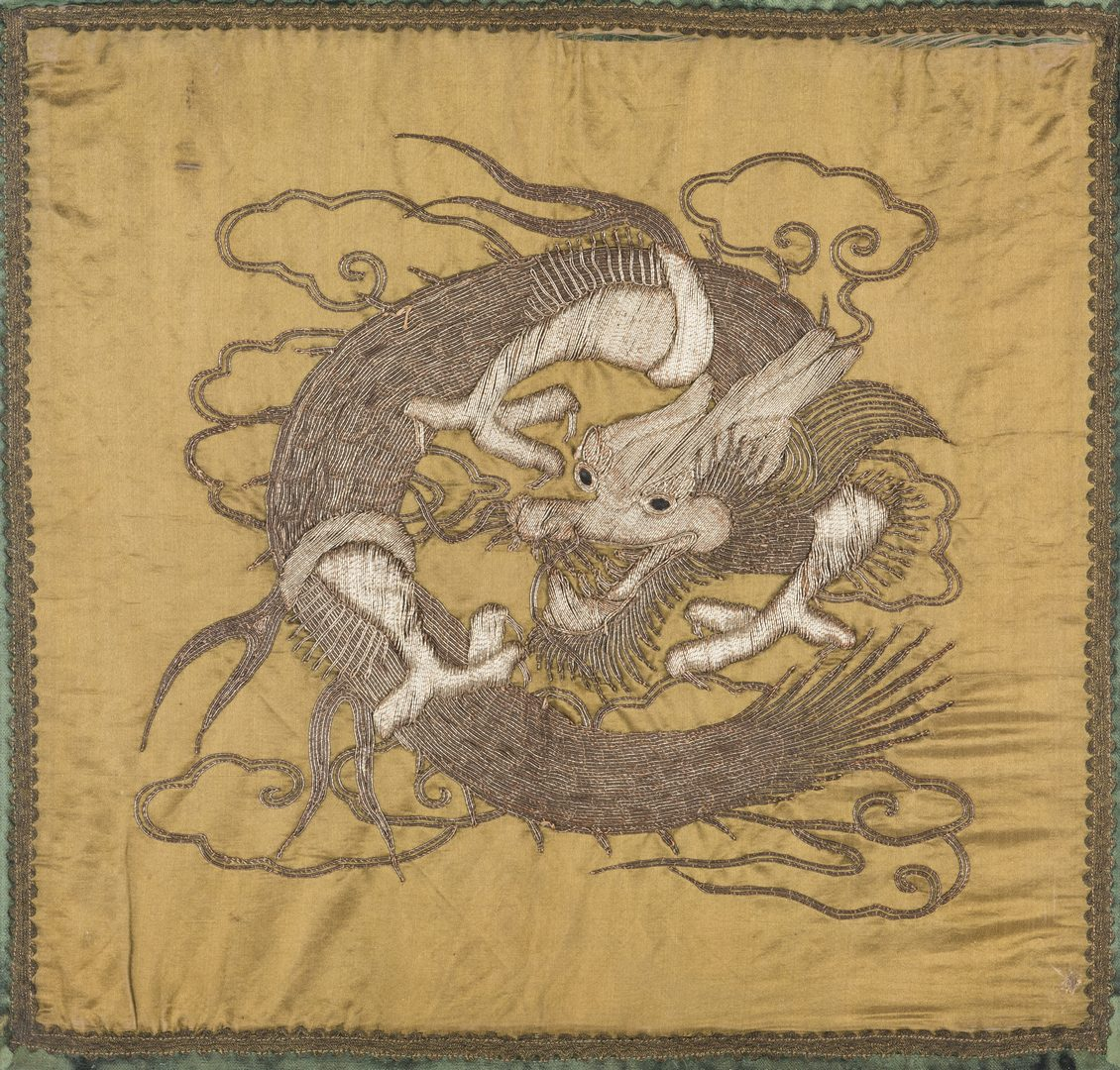 Lot 21: Framed Chinese Embroidered Dragon Textile