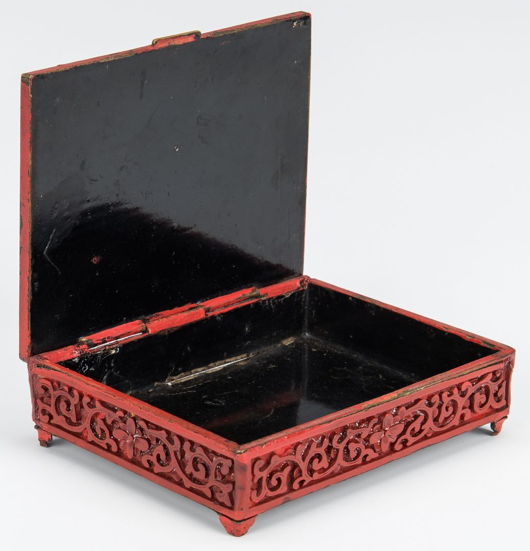 Lot 221: Cinnabar Vase, Box, Snuff Bottles, 4 items