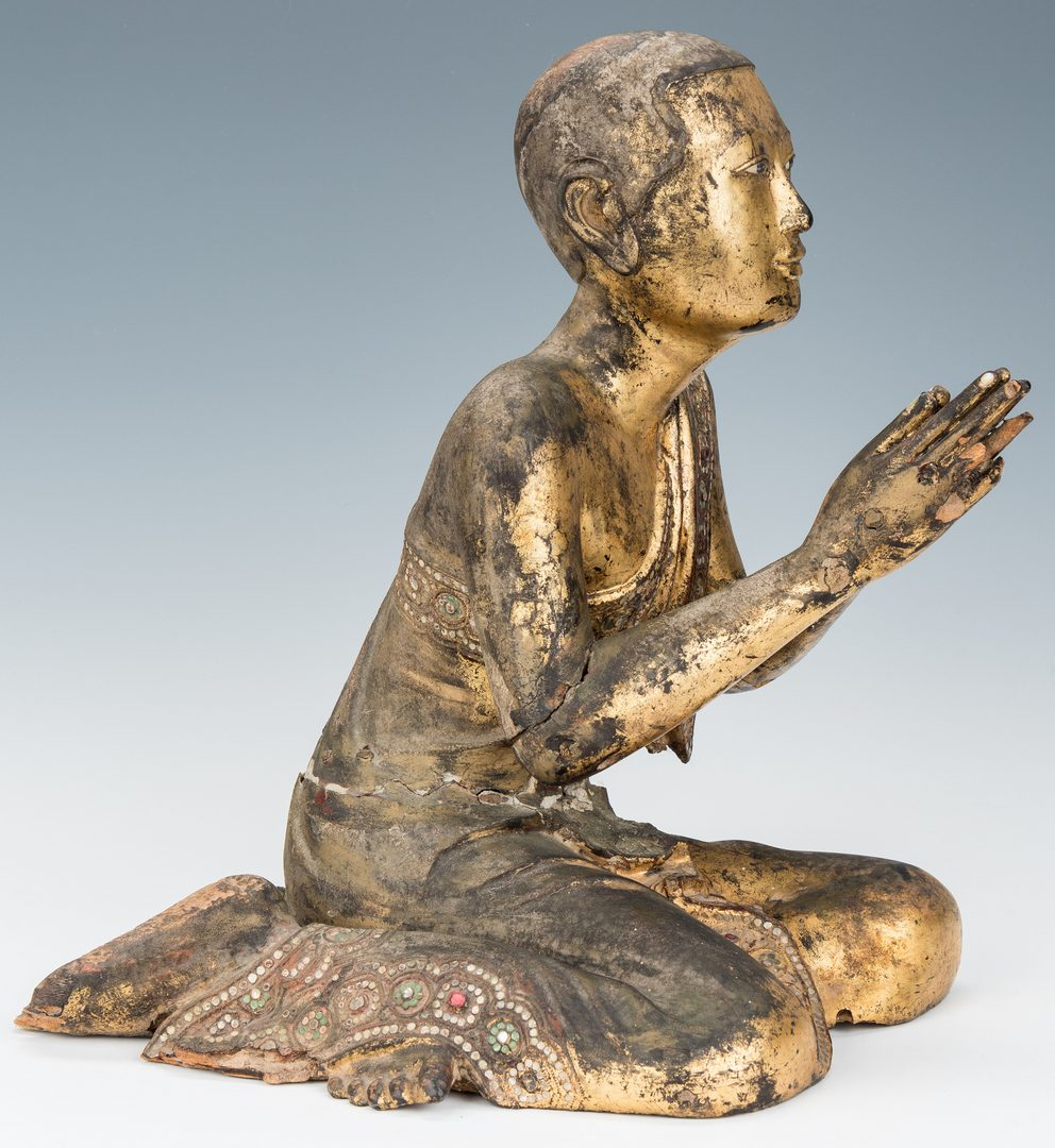 Lot 222: Carved Giltwood & Jeweled Buddhist Temple Monk