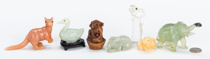 Lot 223: 7 Asian Various Stone & Wood Carved Animals