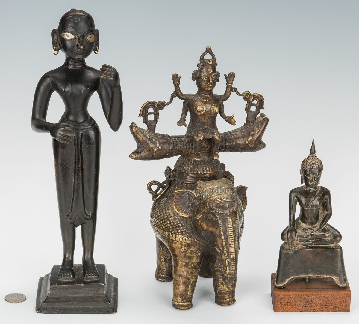 Lot 225: 5 Asian Items, Bronze Religious Figurals, Chinese