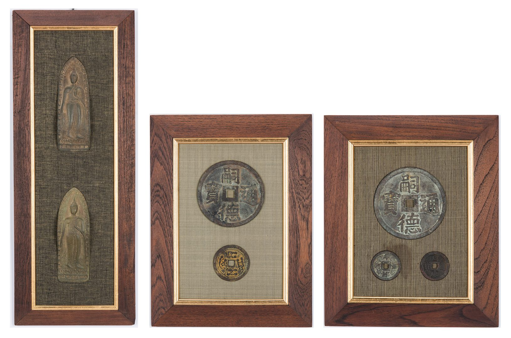 Lot 229: 4 Asian Framed Items incl. Chinese Money Objects