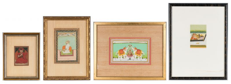 Lot 22: 4 Asian Works of Art, incl. thangka fragment/Indian watercolors