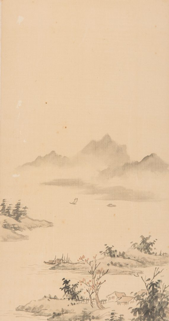 Lot 231: Pair Framed Chinese Landscape Scrolls