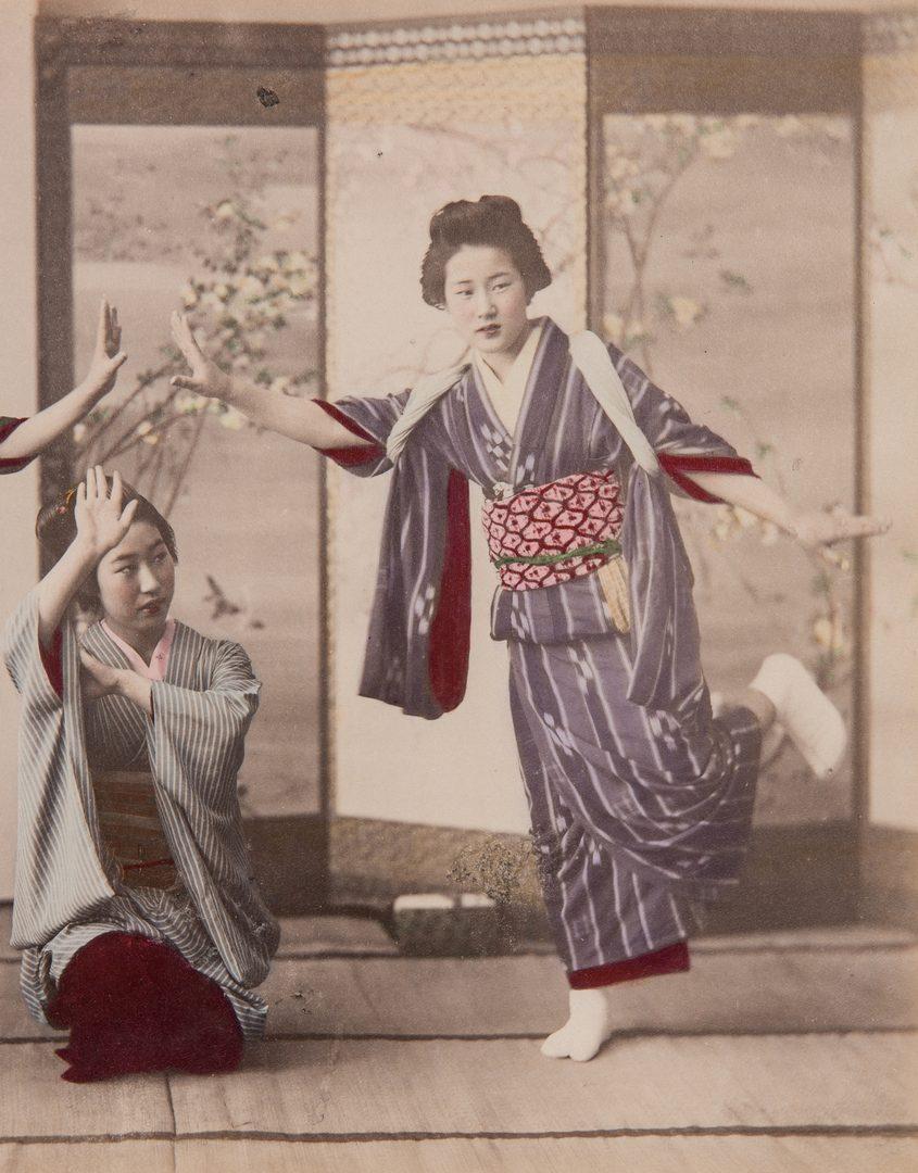 Lot 232: Pr. Geisha Albumen Prints & Reverse Painted Chinese Painting