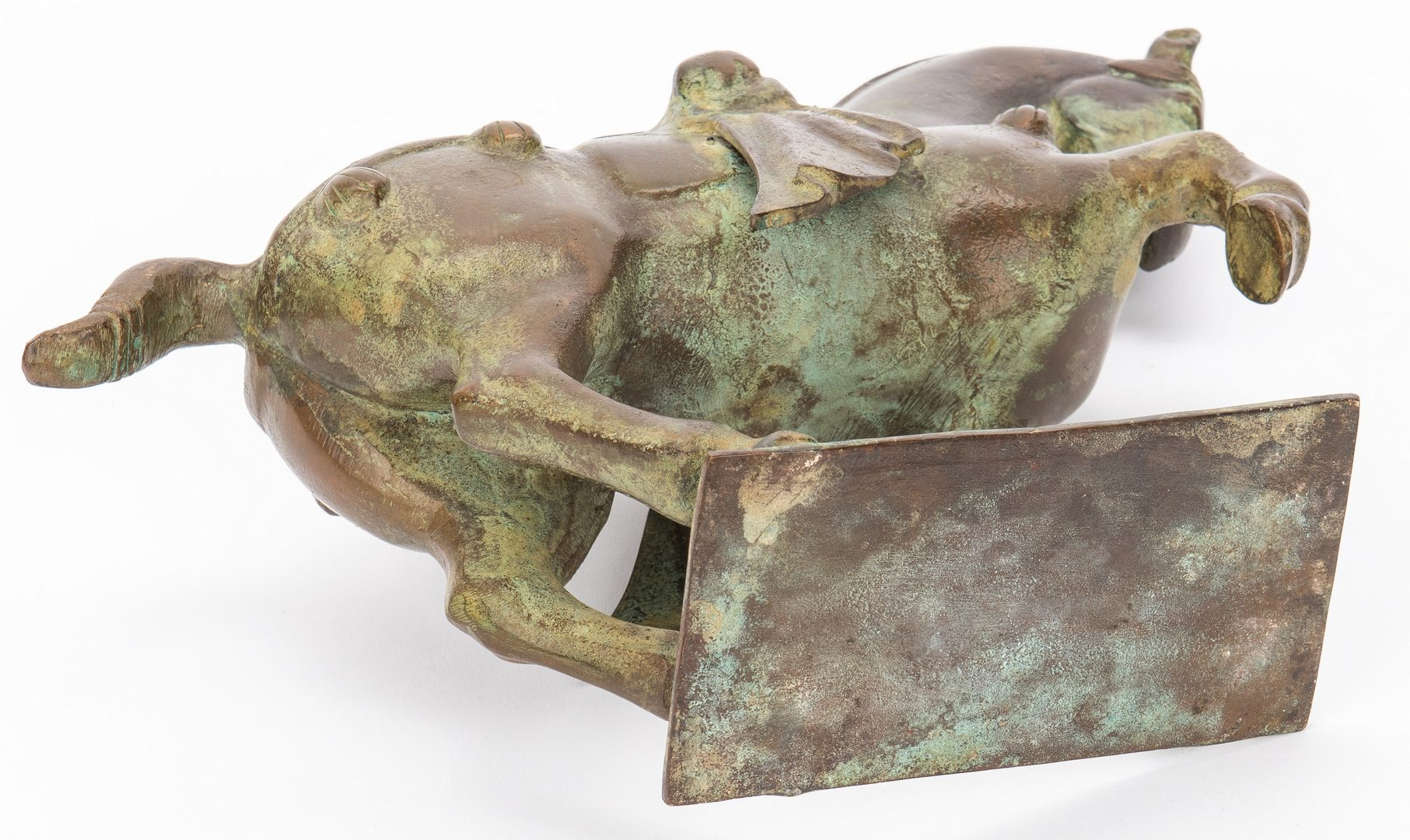 Lot 237: Chinese Tang Style Bronze Horse & Canton Porcelain Tureen, 2 items