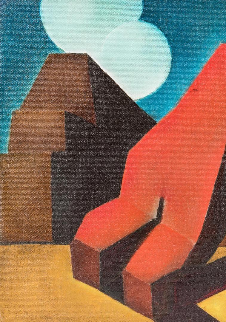 Lot 240: Rudolf Hess Expressionist Oil Painting, Red Figure w/ Ziggurat