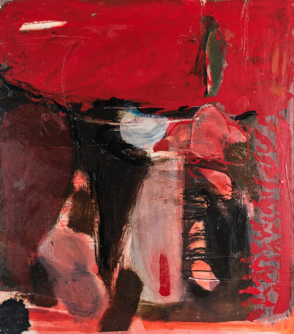 Lot 247: Thomas J. Scott O/C Abstract Painting, Red and Black Marine