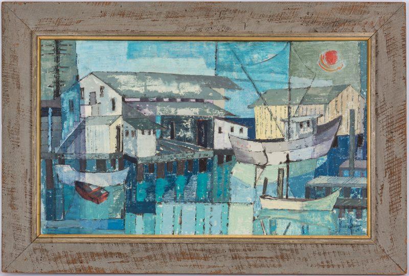 Lot 254: Irene S. Coleman O/C Cubist Painting, Harbor at Night