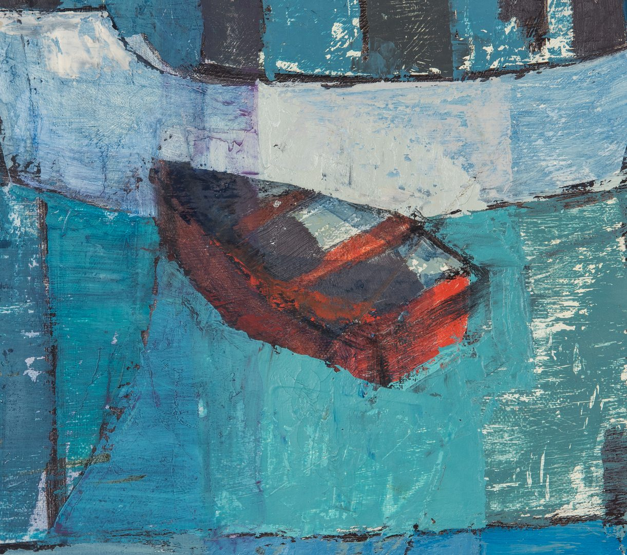 Lot 254: Irene S. Coleman O/C Cubist Painting, Harbor at Night