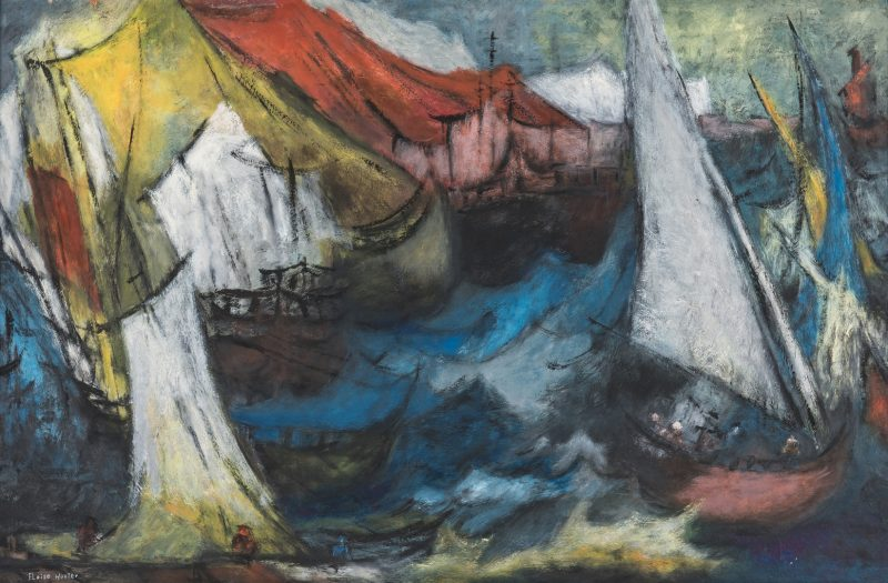 Lot 255: Eloise Hester O/C Expressionist Sail Boats