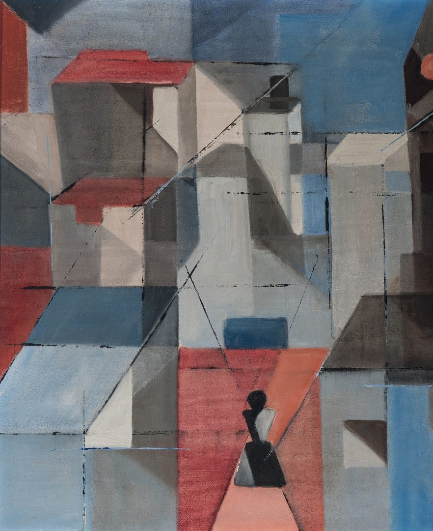 Lot 258: Abstract Cityscape O/C Signed Muhl