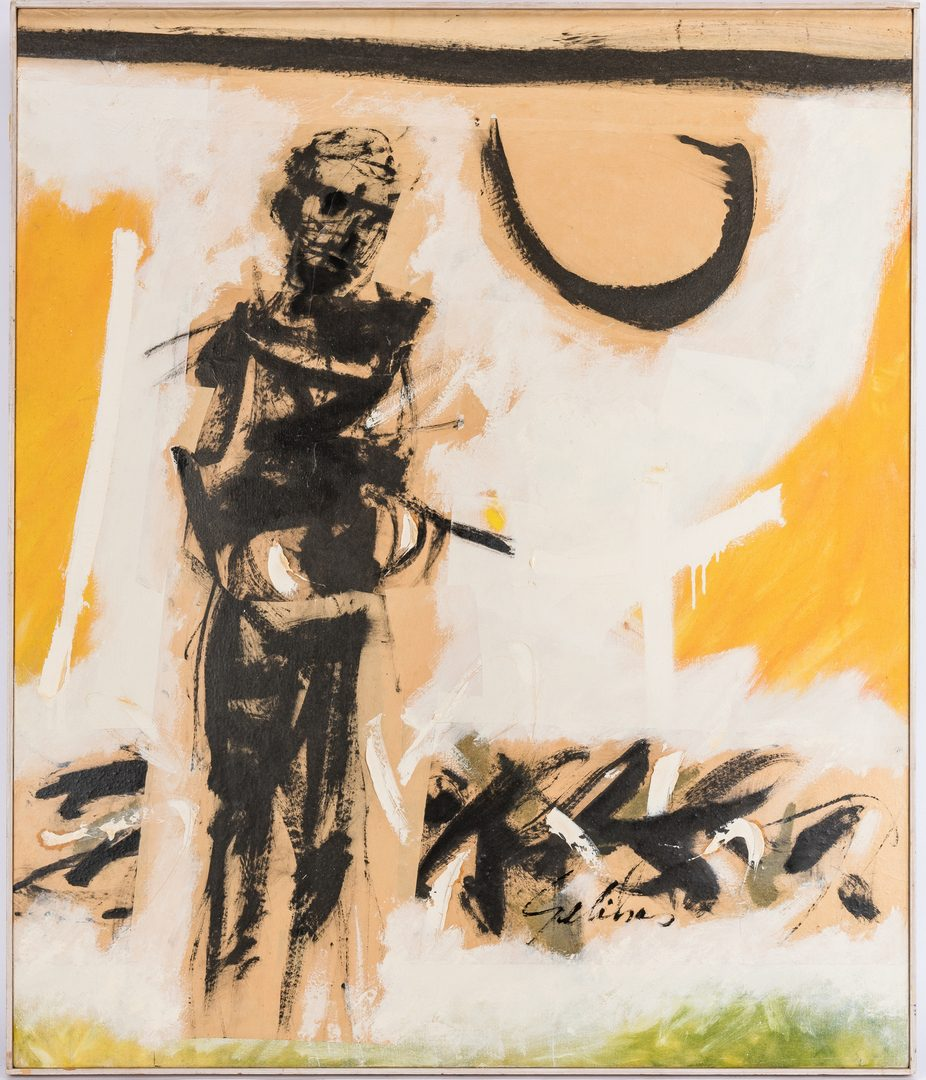 """Lot 260: Robert W. Gelinas O/C Expressionist Painting, """"Burden"""""""