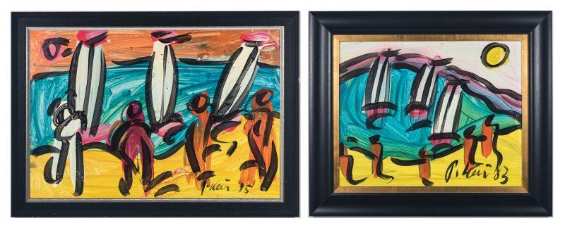 Lot 261: 2 Peter Robert Keil Abstract O/B Paintings