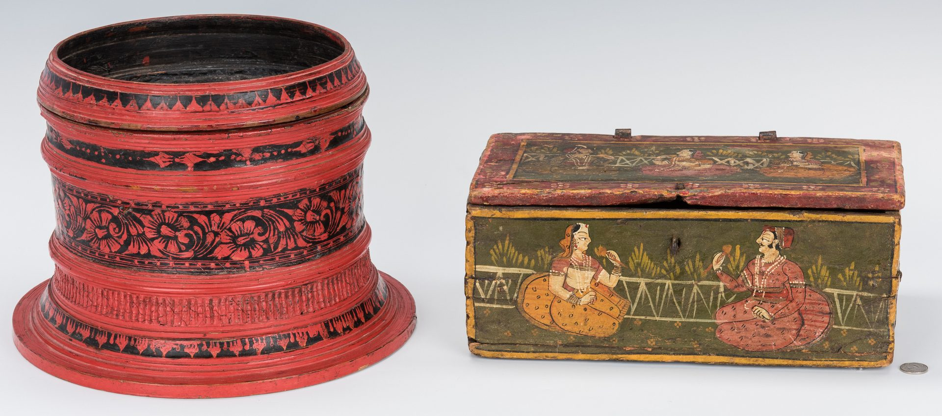 Lot 26: Indian Painted Box and Red Lacquer Basket Stand