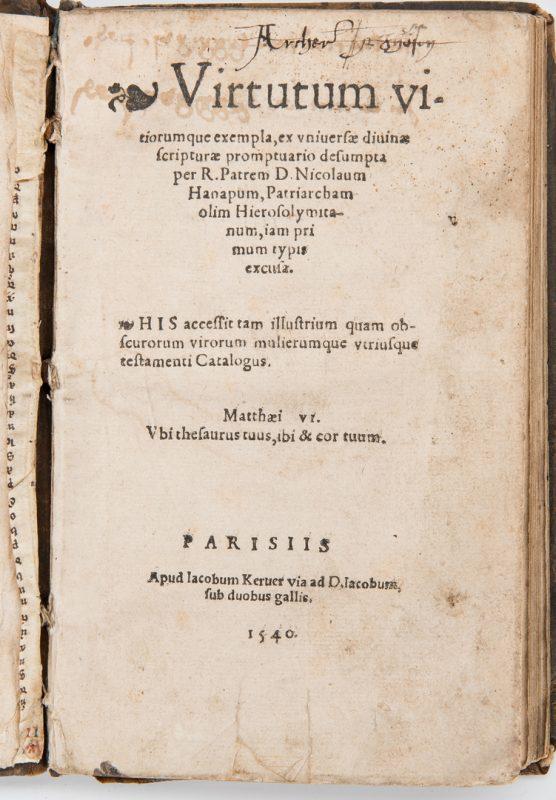 Lot 282: Virtutum Vitiorumque Exempla, Nicolas de Hannappes, 1540