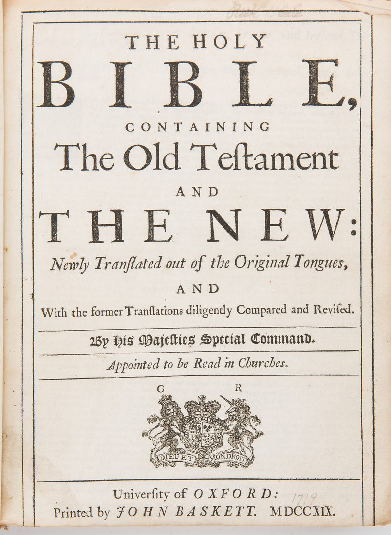 Lot 284: 2 Baskett Bibles, incl. 1719 Illustrated