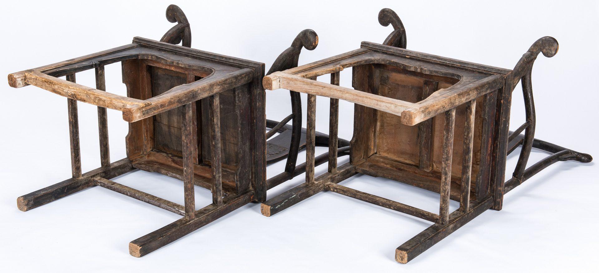 Lot 28: Pair Chinese Yoke Back Armchairs