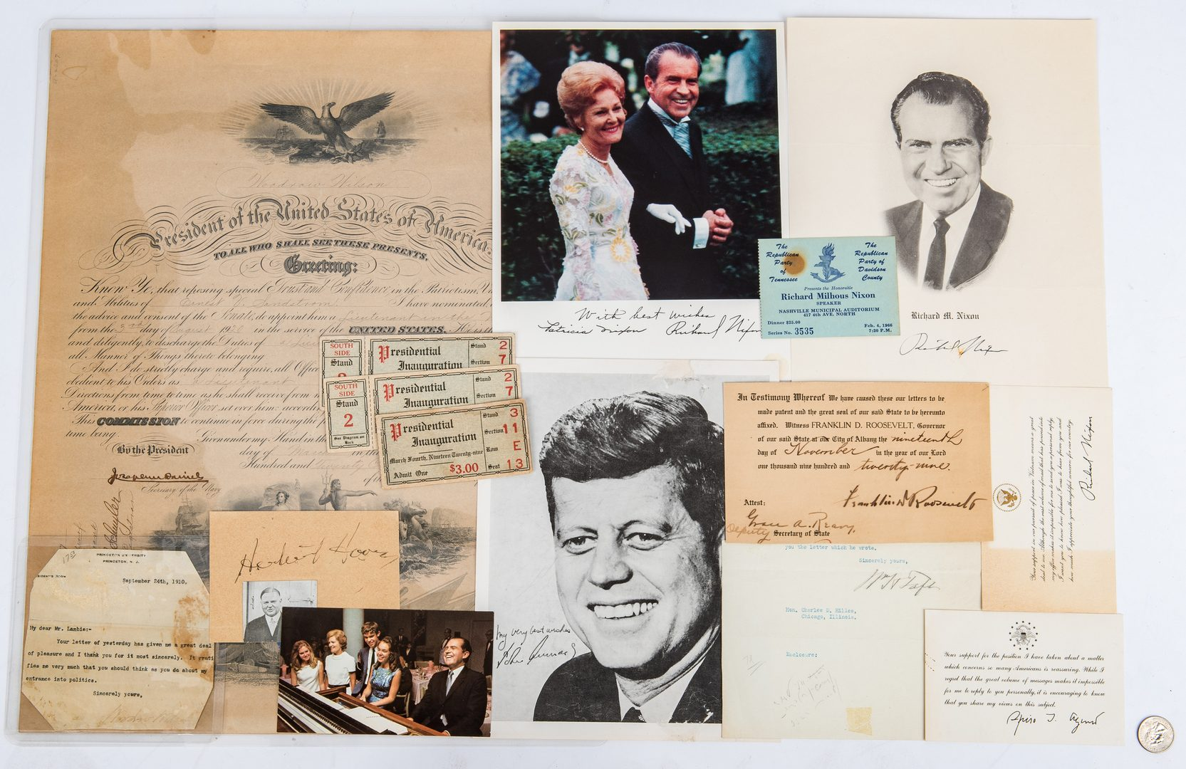 Lot 299: 20th Century Presidential Ephemera, 15 items
