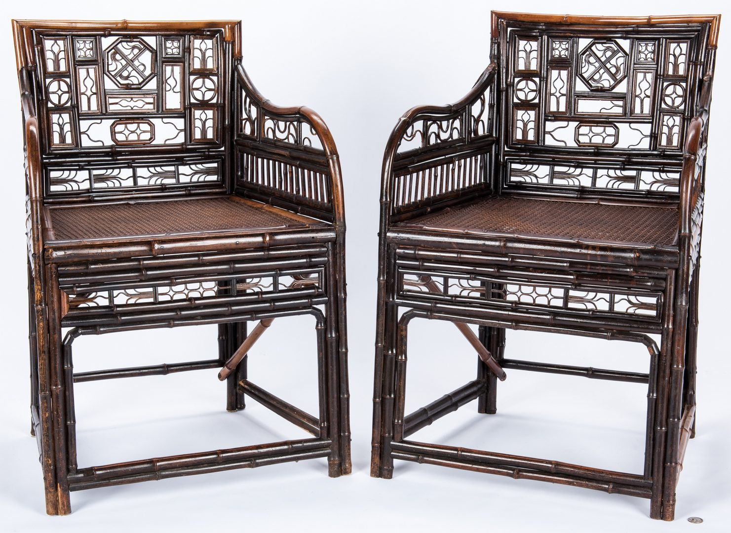 Lot 29: Two Chinese Bamboo Armchairs
