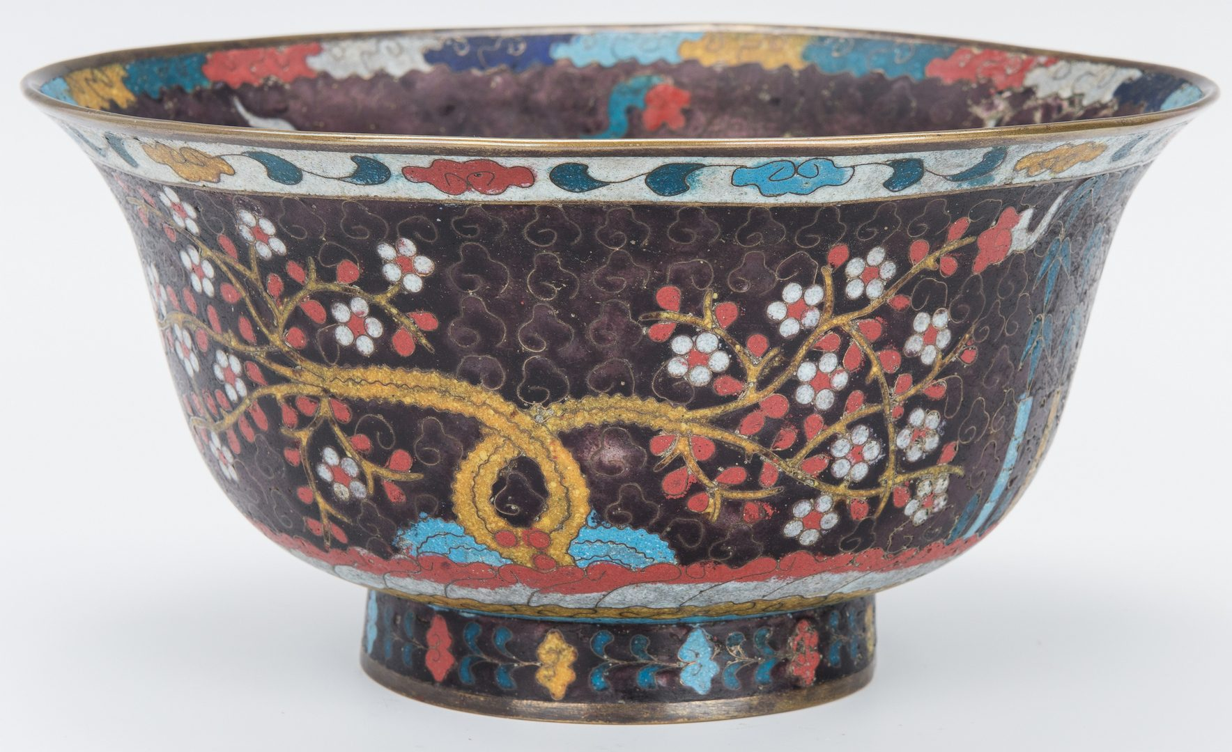 Lot 2: Cloisonne bowl with Horses, Urn, Box, 3 items