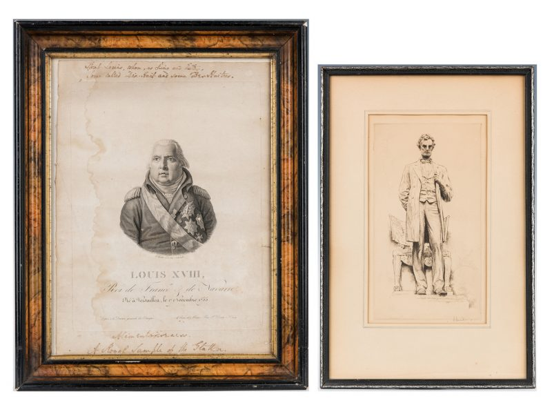 Lot 302: 2 Historical Art Works, incl. Louis XVIII, Abraham Lincoln