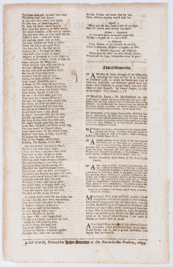 Lot 305: 3 17th C. Newspapers incl. Witch Trials, Plague