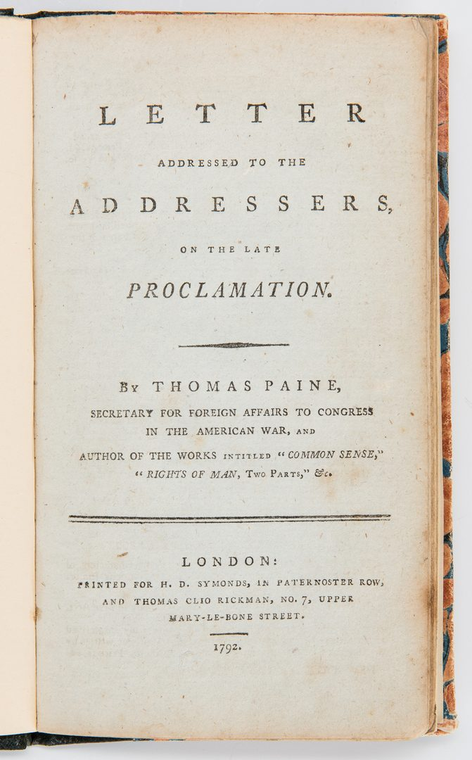 Lot 307: 2 18th Cent. Historical Writings, incl. Stephen Hopkins, Thomas Paine