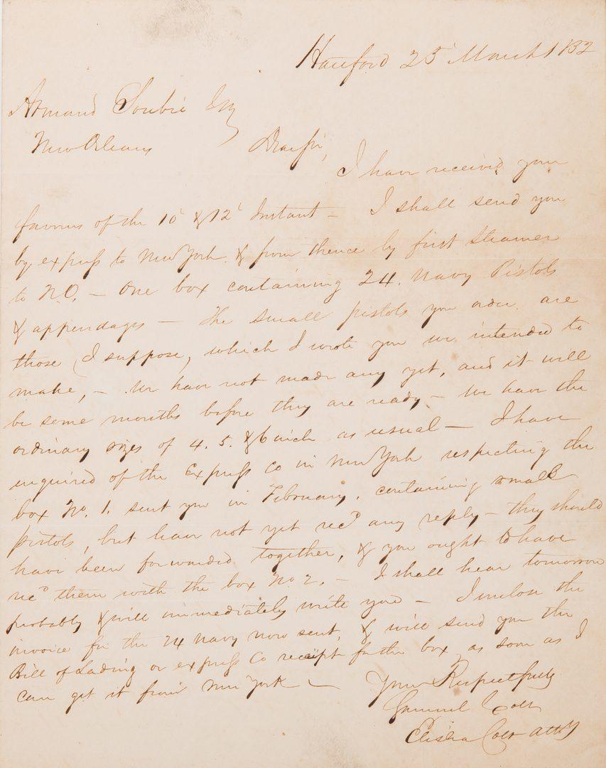 Lot 310: Samuel and Elisha Colt ALS, dated 1832