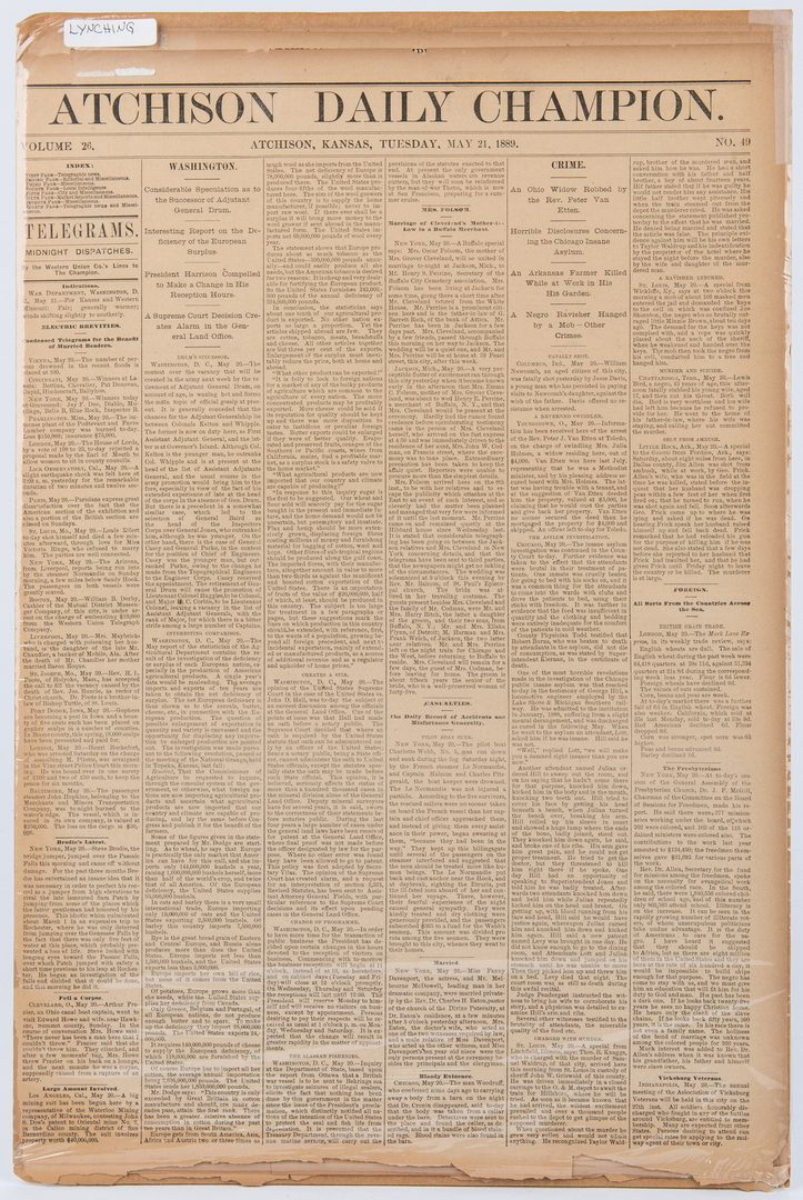 Lot 311: 11 Newspapers incl. Civil War, Western, Slave Related