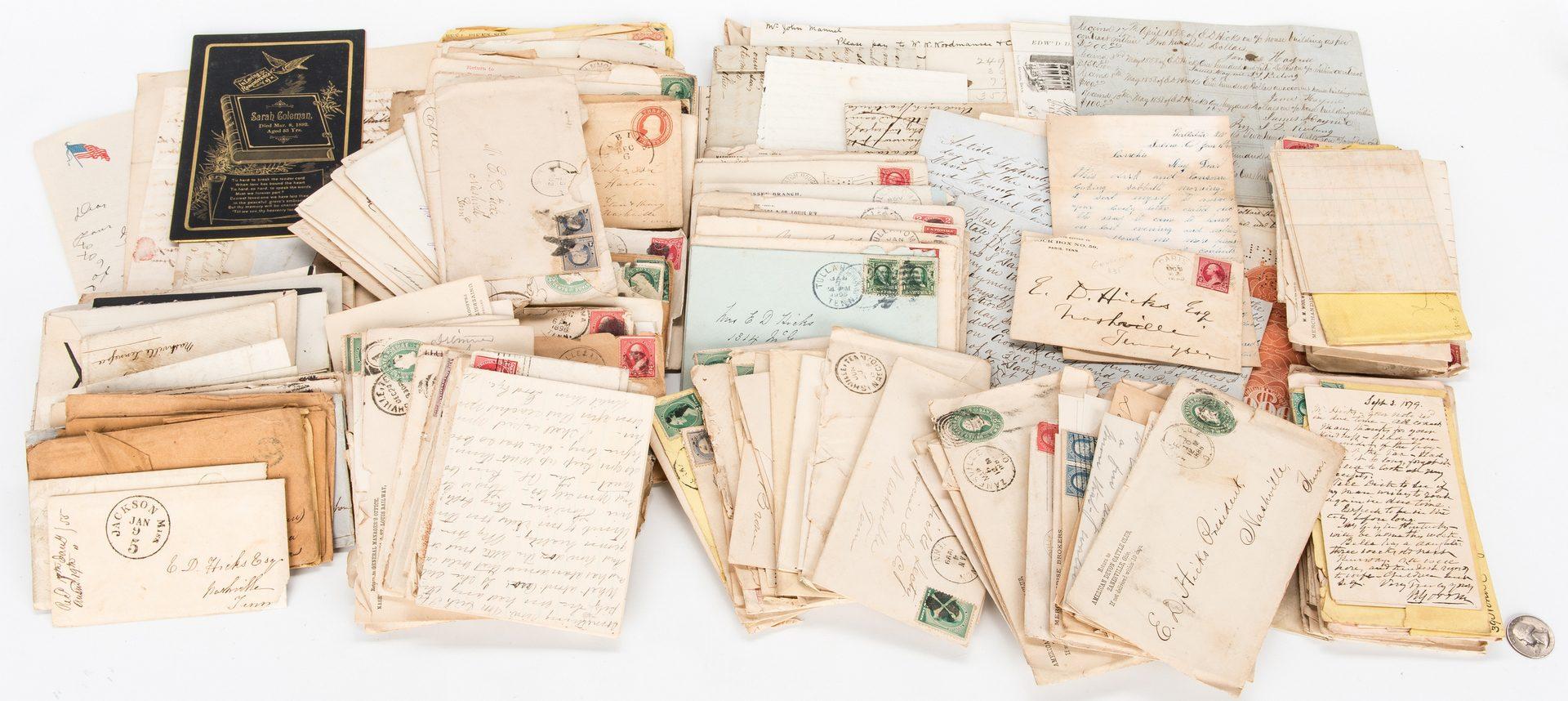 Lot 313: Edward D. Hicks Family, Nashville, TN Archive, 200 plus items
