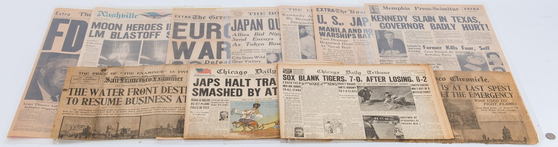 Lot 318: Ten 20th Cent. Newspapers, Major Events