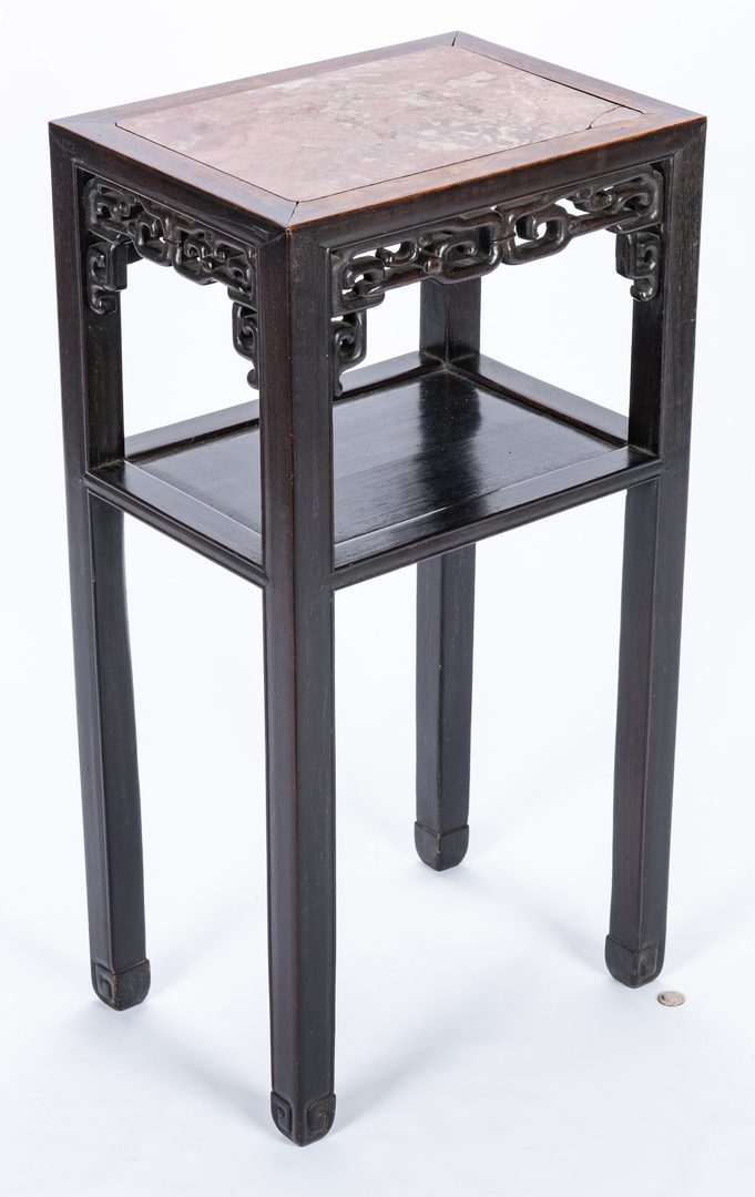Lot 31: Chinese Hardwood Stand w/ Marble Top