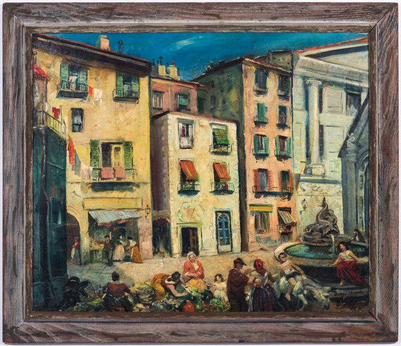 Lot 321: Dahli Sterne, O/C, Mediterranean Market Scene