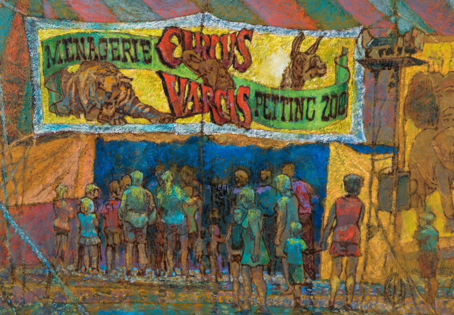 "Lot 322: John Poti O/B Circus Painting, ""After the Rain"""