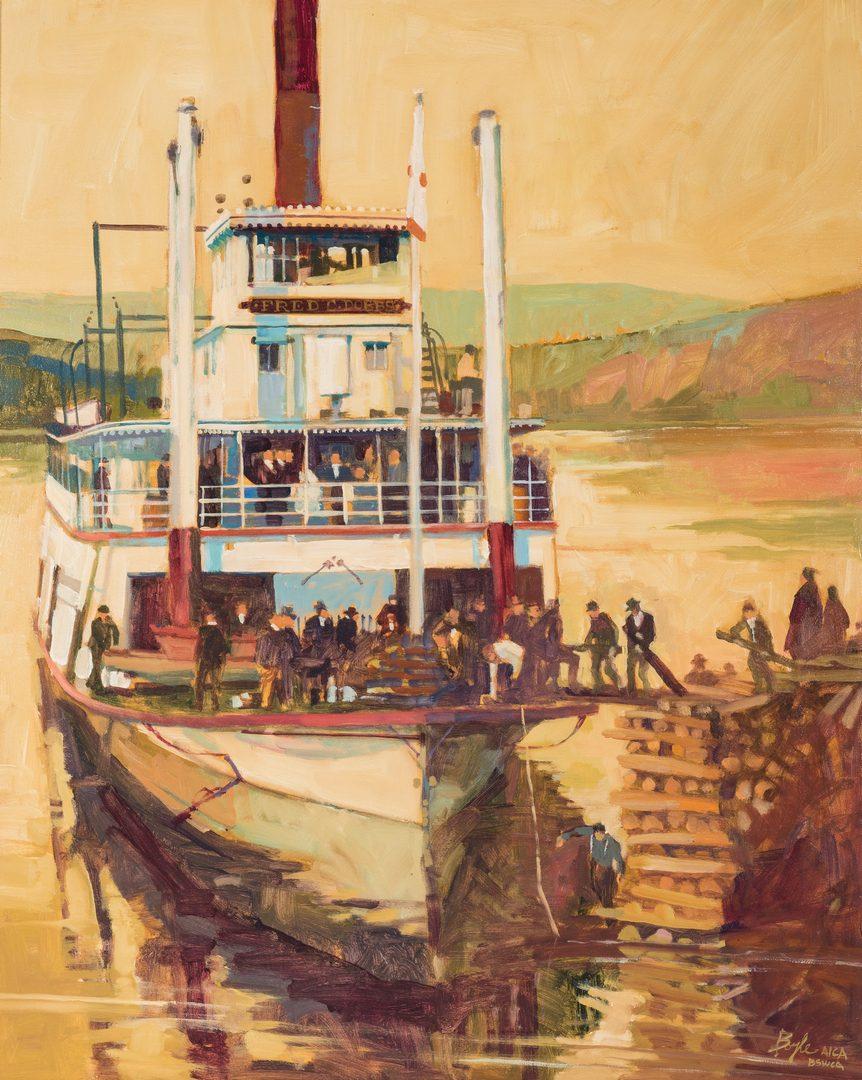 Lot 323: James Neil Boyle O/C, Steamboat Scene