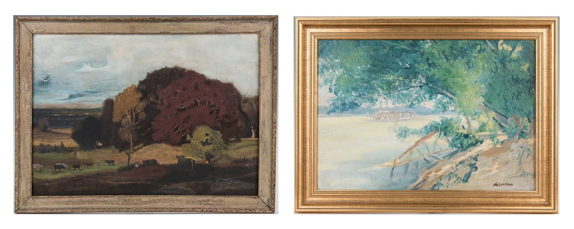 Lot 324: 2 Indiana O/B Landscape Paintings