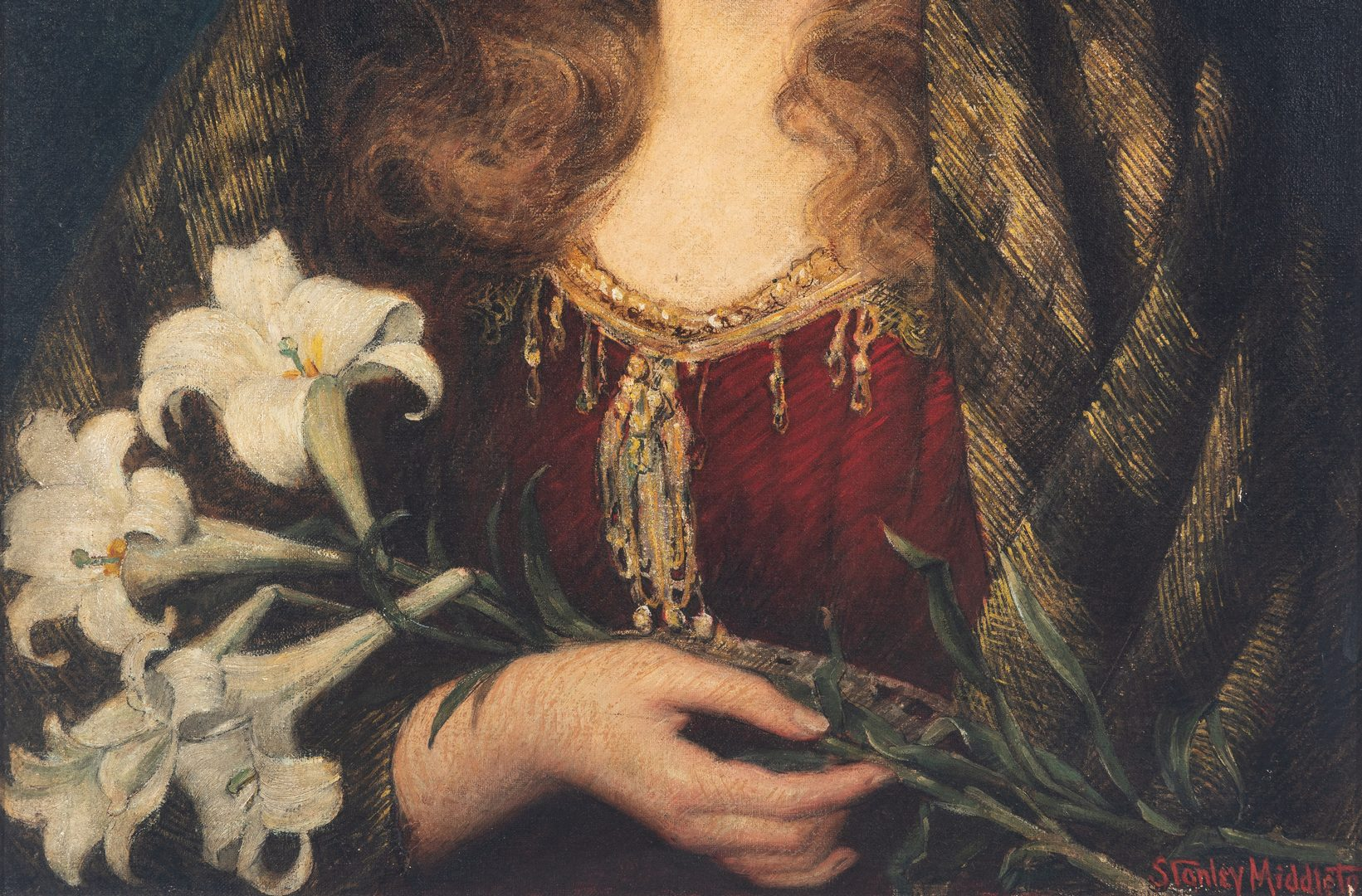 Lot 327: Stanley Middleton O/C Portrait, Lady with Lilies