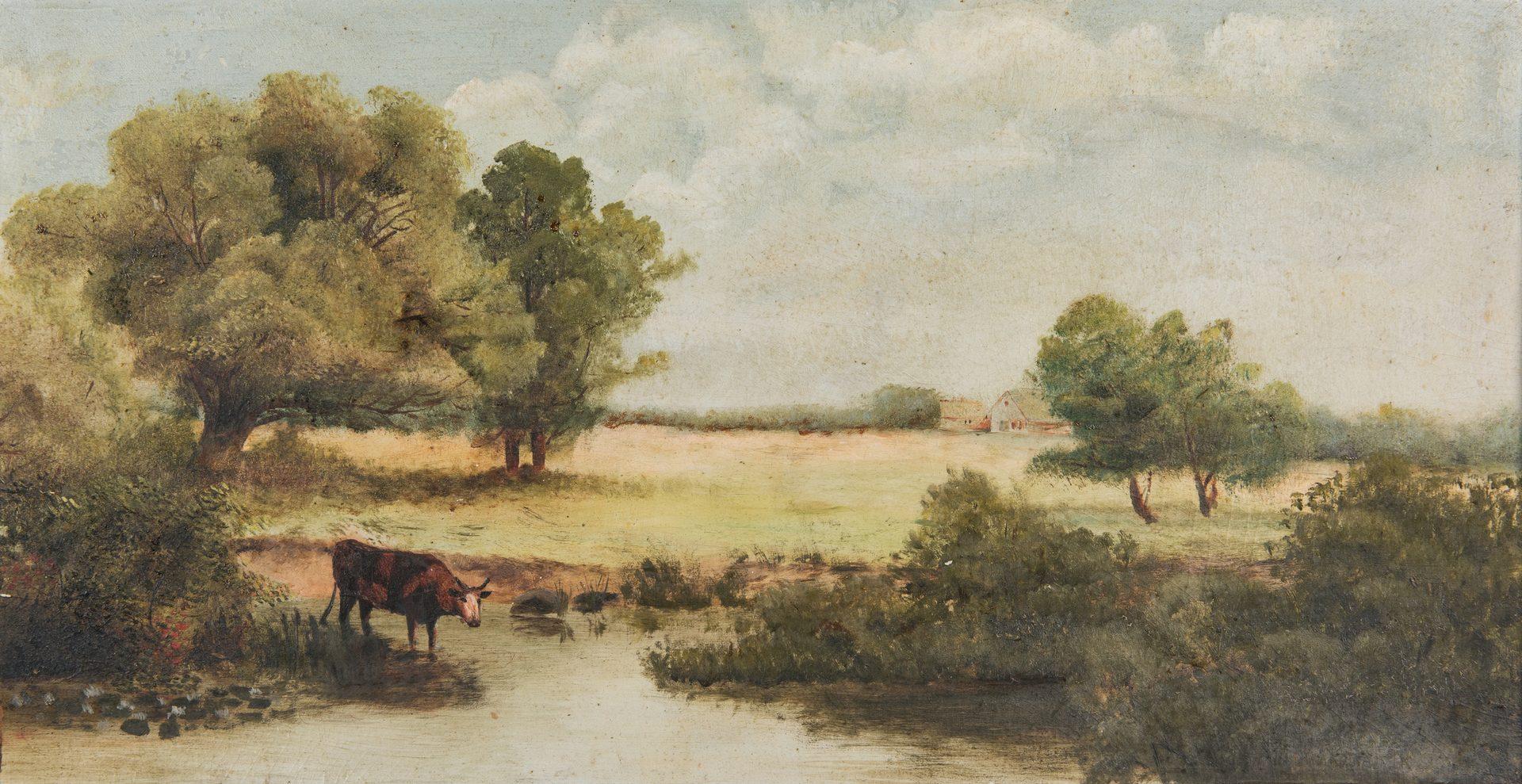 Lot 331: 2 American School Oil Paintings, Farm Scenes