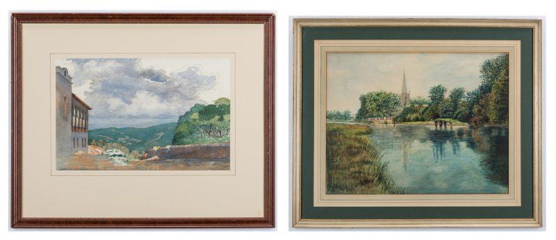 Lot 334: 2 American Watercolor Landscapes