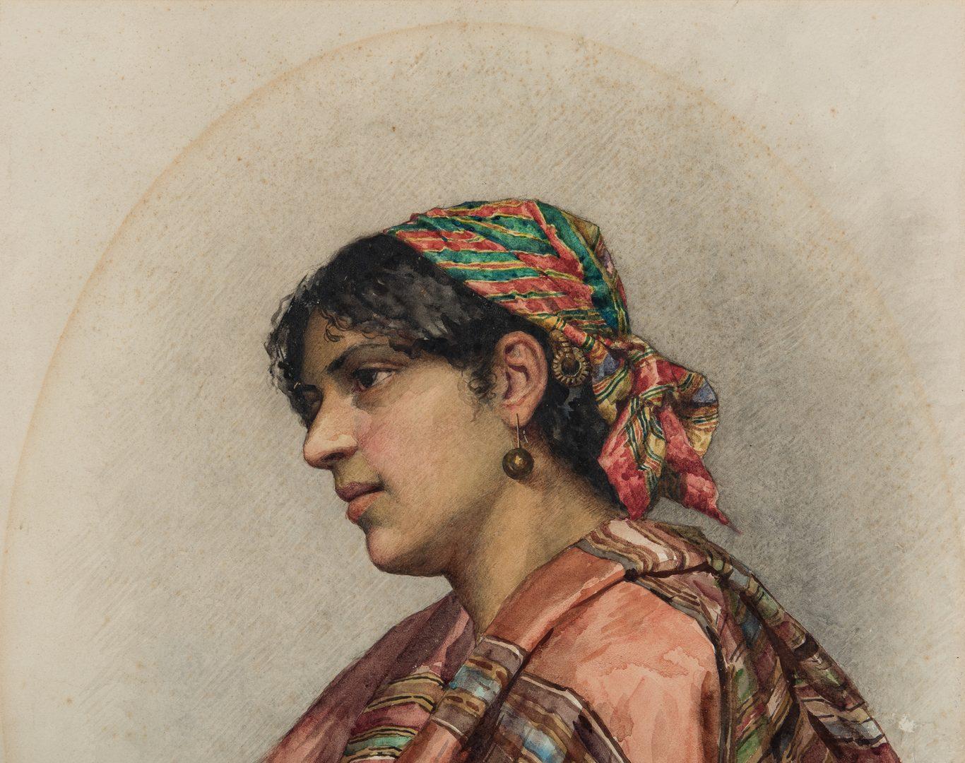 Lot 335: Giulio Rosati, Watercolor of Romani Woman