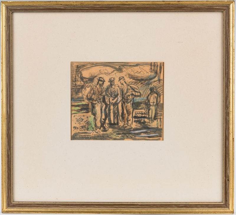Lot 337: H.C. Bornholm Watercolor, Painting of Workers