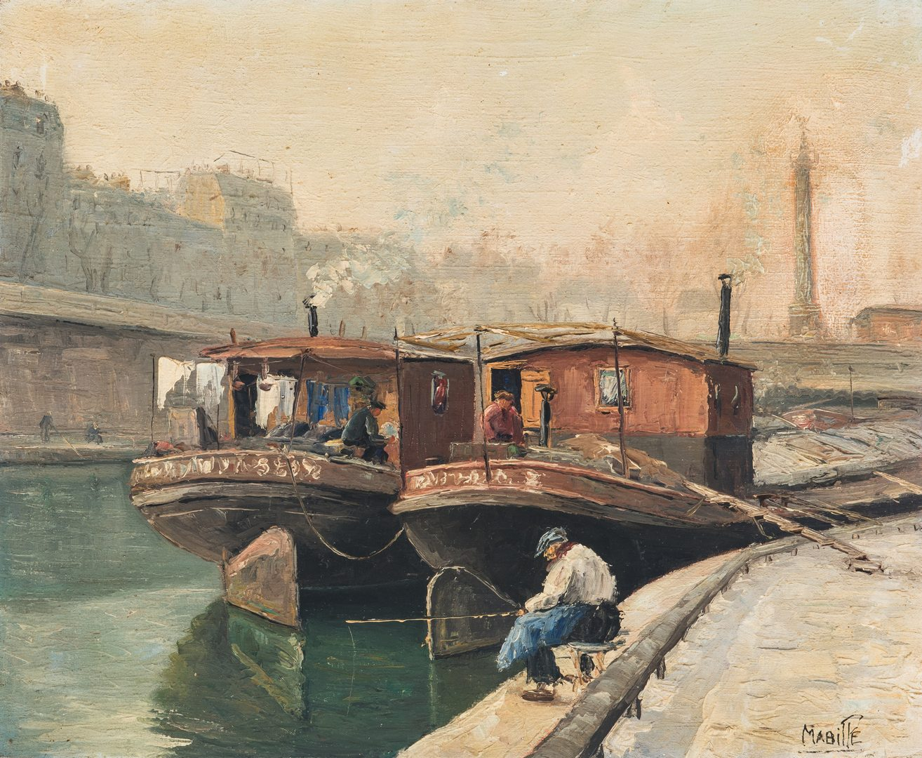 Lot 338: French Canal Landscape signed Mabille
