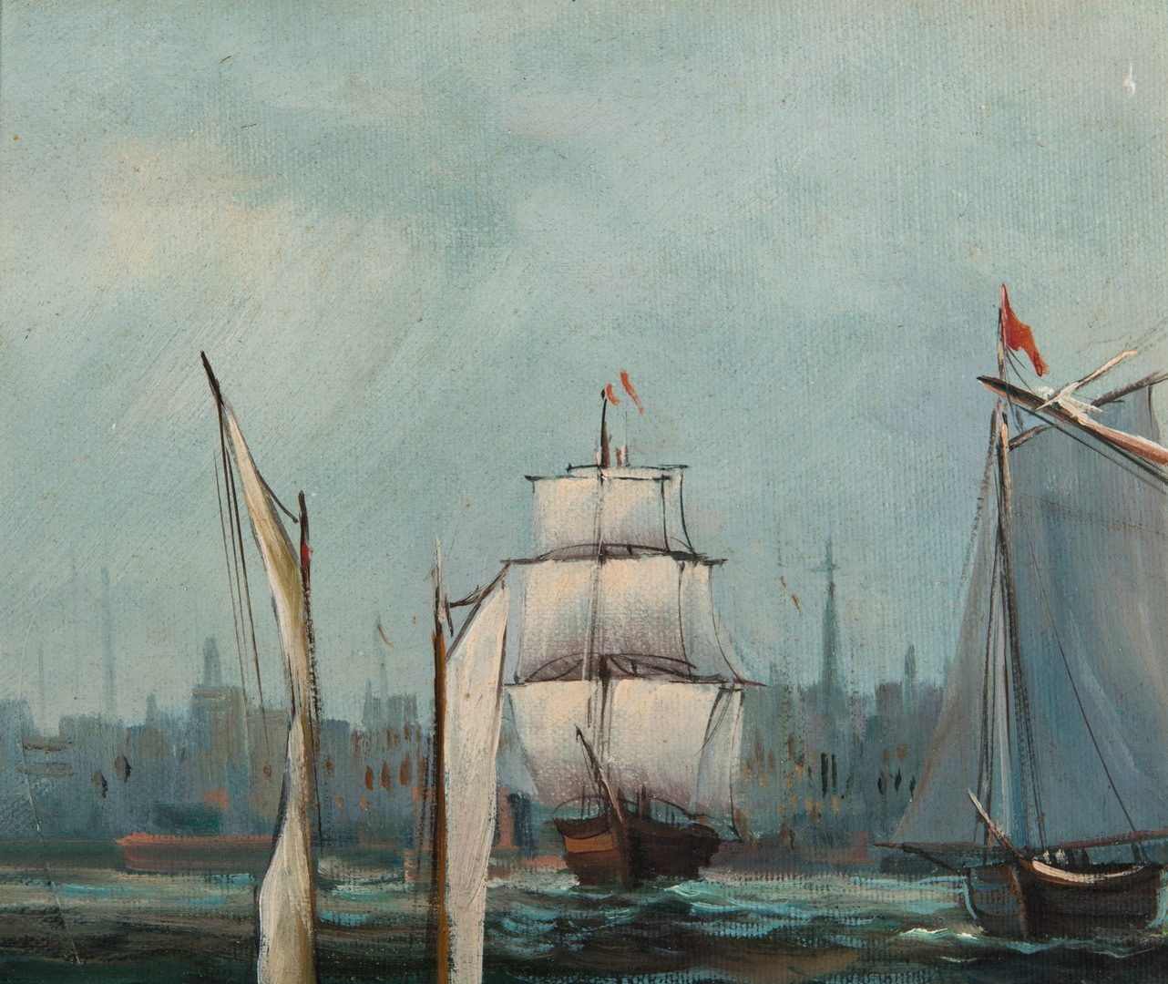 Lot 341: Signed European School O/C Maritime Painting