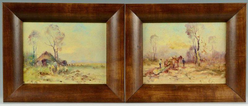 Lot 342: Pair pastoral landscapes, manner of Johannes Ten Cate