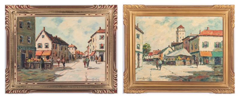 Lot 343: Pair French Village Scenes by Ainsley